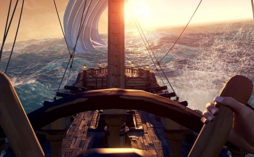 A la barre d'un bateau dans Sea of Thieves